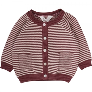 MUSLI STRIBET CARDIGAN - DUSTY BERRY